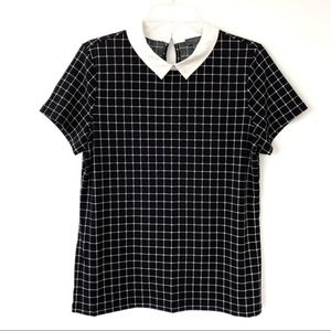 {The Limited} Peter Pan Collar Windowpane Blouse